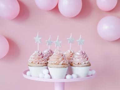 5 candeline di compleanno stelle argento con brillantini-1