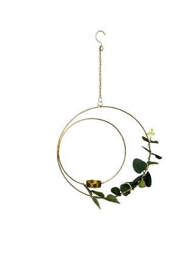 Sospensione cerchio con portacandele e eucalipto