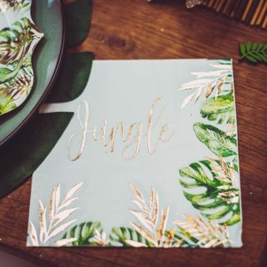 16 tovaglioli di carta Jungle verde e oro-1
