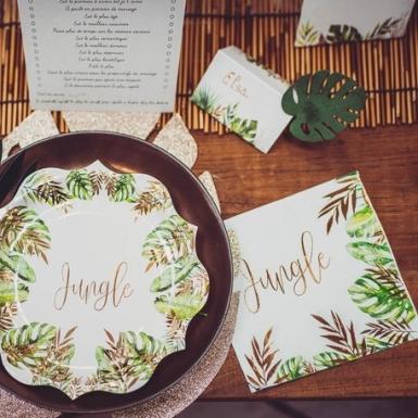 16 tovaglioli di carta Jungle verde e oro-2