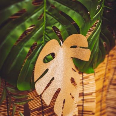2 tovagliette foglie tropicali verdi e oro-2