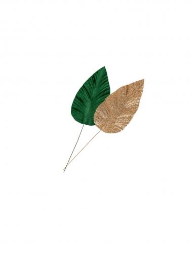 2 foglie di magnolia verdi con paillettes