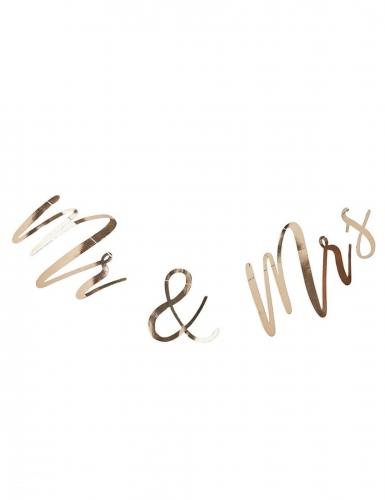 Ghirlanda in cartone Mr & Mrs color oro