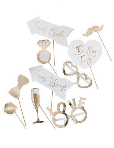 Kit photobooth per matrimonio oro 10 accessori