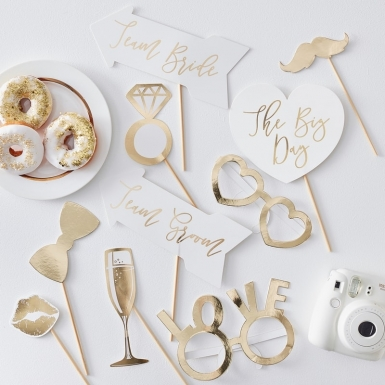 Kit photobooth per matrimonio oro 10 accessori-1