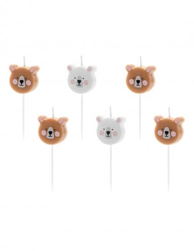 6 candeline di compleanno orsi bianchi e marroni