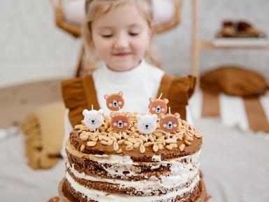 6 candeline di compleanno orsi bianchi e marroni-1