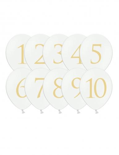 10 palloncini bianchi con numero da 1 a 10 oro
