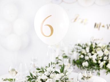10 palloncini bianchi con numero da 1 a 10 oro-1