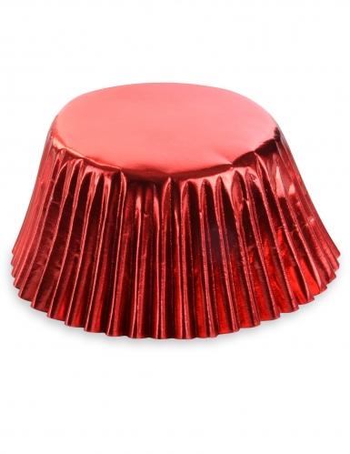 50 pirottini per cupcakes in carta rosso metallizzato