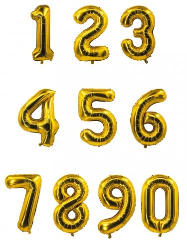 Palloncino in alluminio a forma di numero dorato 85 cm-1