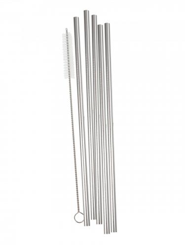 5 cannucce in acciaio argento con spazzolino