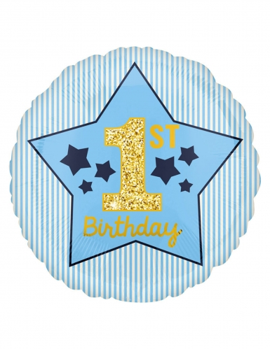 Palloncino stella blu 1st Birthday