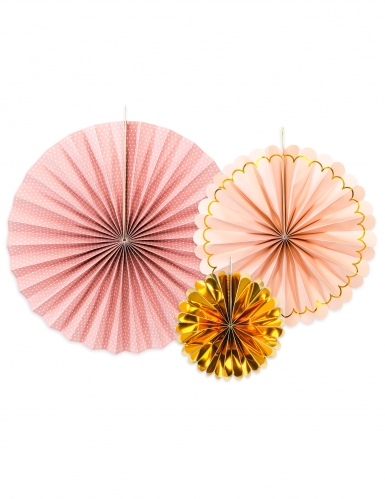 3 rosoni in cartone rosa e oro
