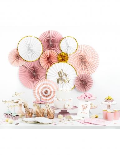3 rosoni in cartone rosa e oro-1