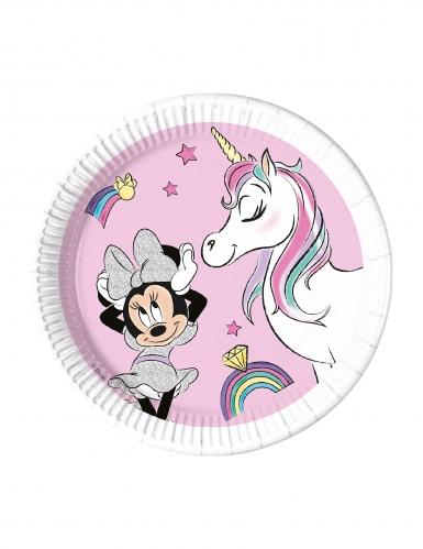 8 piatti compostabili Minnie e l'unicorno™ 23 cm