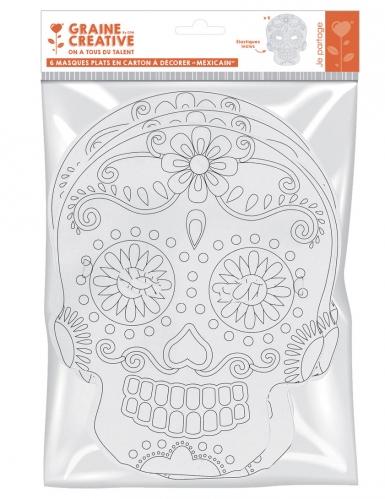 6 maschere piatte da decorare in cartone teschio messicano