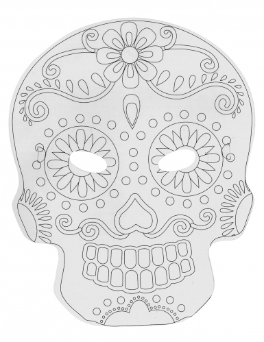 6 maschere piatte da decorare in cartone teschio messicano-1