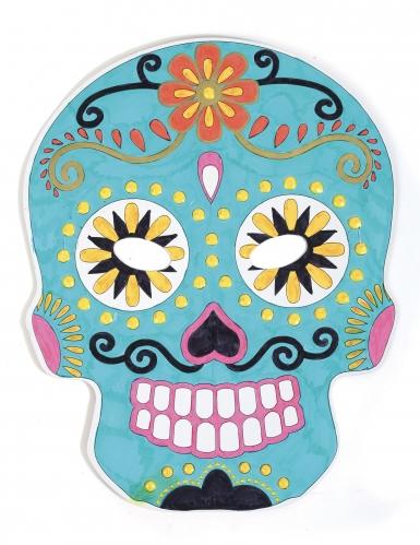 6 maschere piatte da decorare in cartone teschio messicano-2