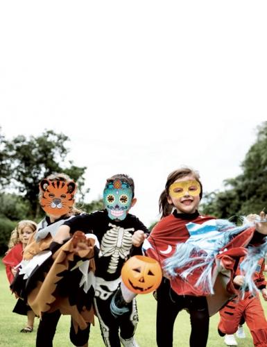 6 maschere piatte da decorare in cartone teschio messicano-3