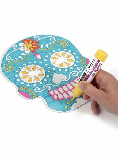6 maschere piatte da decorare in cartone teschio messicano-4