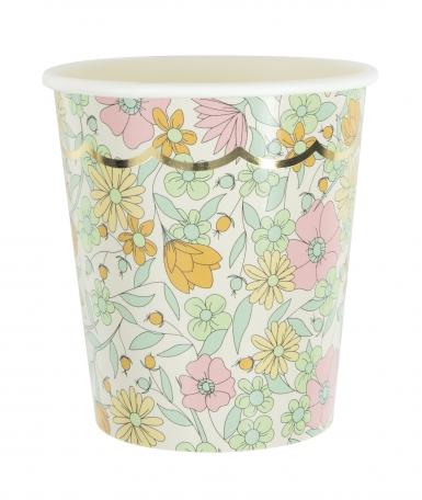 8 bicchieri in cartone a fiori shabby