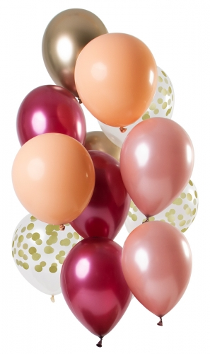 12 palloncini in lattice mix rosa porpora e oro