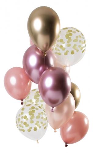 12 palloncini in lattice mix oro rosa e dorato