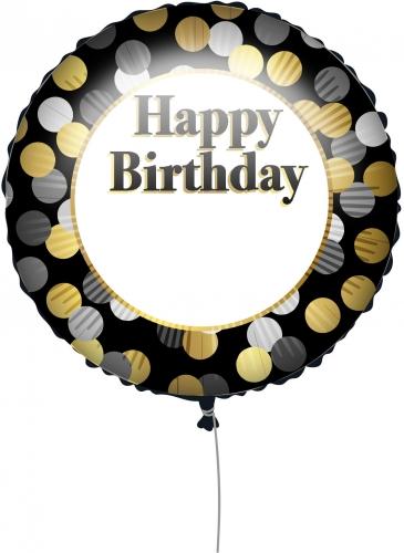 Palloncino Happy Birthday nero e oro personalizzabile 43 cm-1