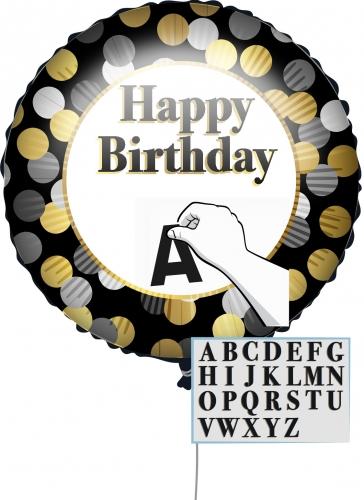 Palloncino Happy Birthday nero e oro personalizzabile 43 cm