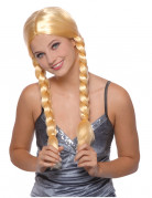 Parrucca bionda con trecce da donna