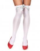 Calze autoreggenti bianche con fiocco bianco