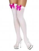 Calze autoreggenti bianche con fiocco rosa