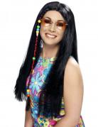 Parrucca nera hippie da donna