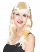 Parrucca lunga bionda con frangia da donna