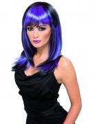 Parrucca nera con ciocche viola per adulti
