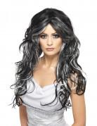 Parrucca lunga nera con ciocche bianche da donna