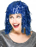 Parrucca adulto di colore blu metallizzato