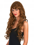 Parrucca lunga e castana con ricci da donna