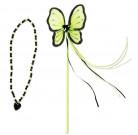 Bacchetta e collana verde e nero da principessa