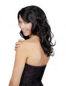 Parrucca nera con capelli lunghi e ondulati