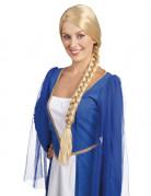 Parrucca donna con treccia medievale bionda