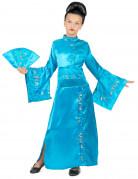 Costume da geisha turchese per bambina