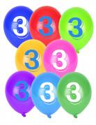 8 palloncini colorati numero 3