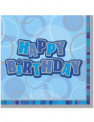 16 tovaglioli Happy Birthday blu