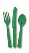 18 posate di plastica di colore verde