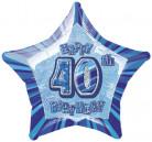 palloncino per 40 anni blu a forma di stella