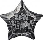 Palloncino Happy Birthday grigio a forma di stella
