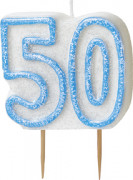 Candelina 50 anni blu