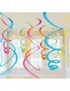 12 decorazioni da appendere a spirale colori assortiti
